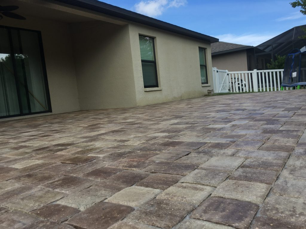 concrete pavers installed in a patio