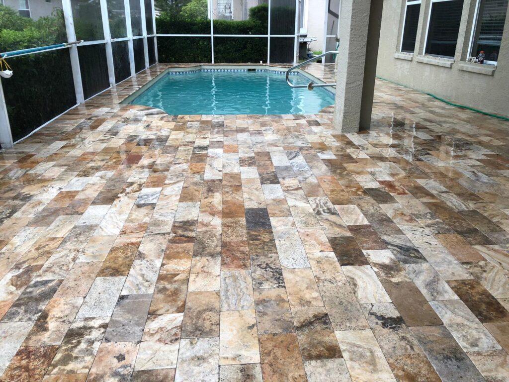 travertine pavers on pool deck