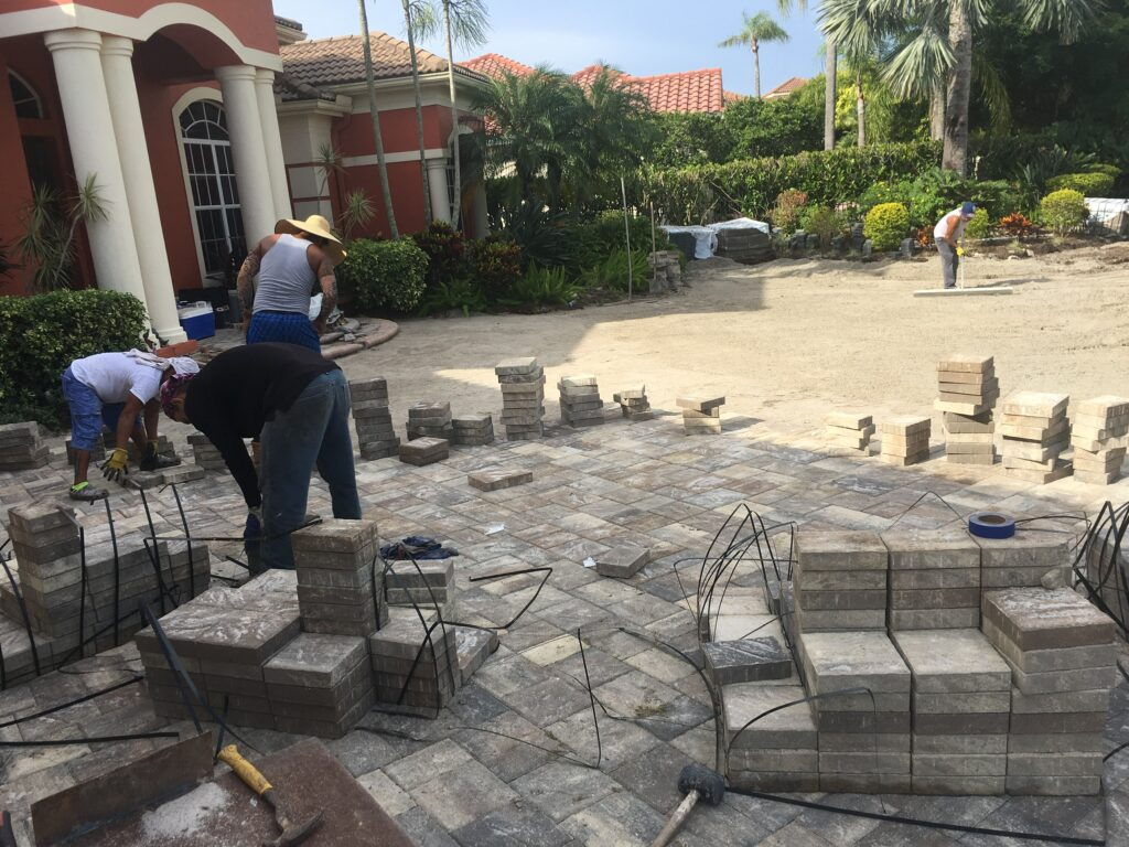 how to lay pavers over concrete