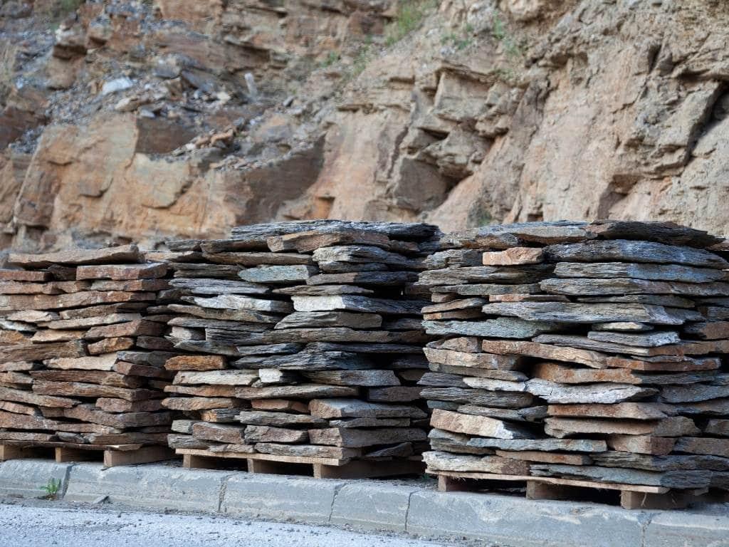 flagstones organized in piles