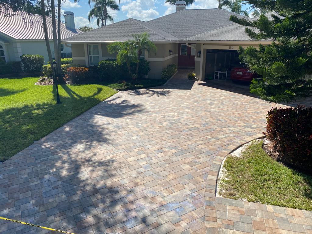 wide paver driveway