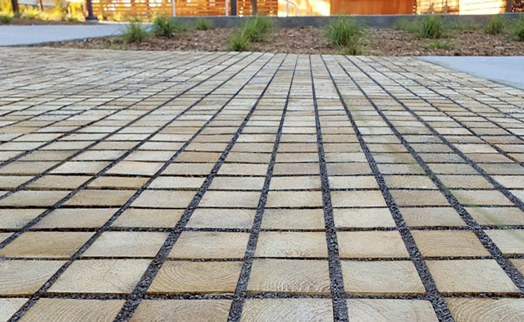 Outdoor patio covered with permeable pavers