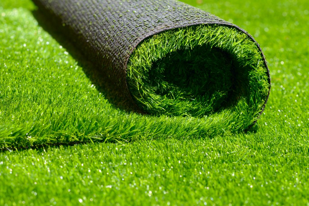 Detail of a roll of synthetic grass.