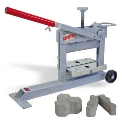 Brick splitter with cut pavers.