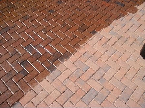 Pavers in the process of sealing.